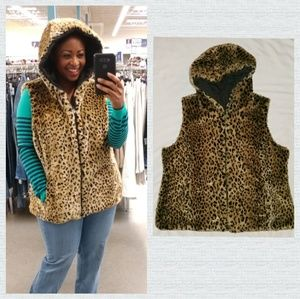Leopard Faux Animal Print Fur Hooded Vests XXL